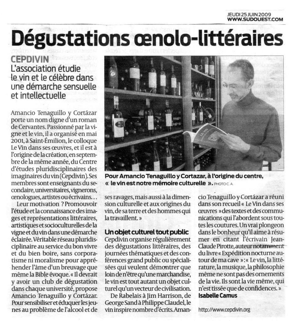 Dégustations oenolo-littéraires. Sud Ouest 25/06/2009.
