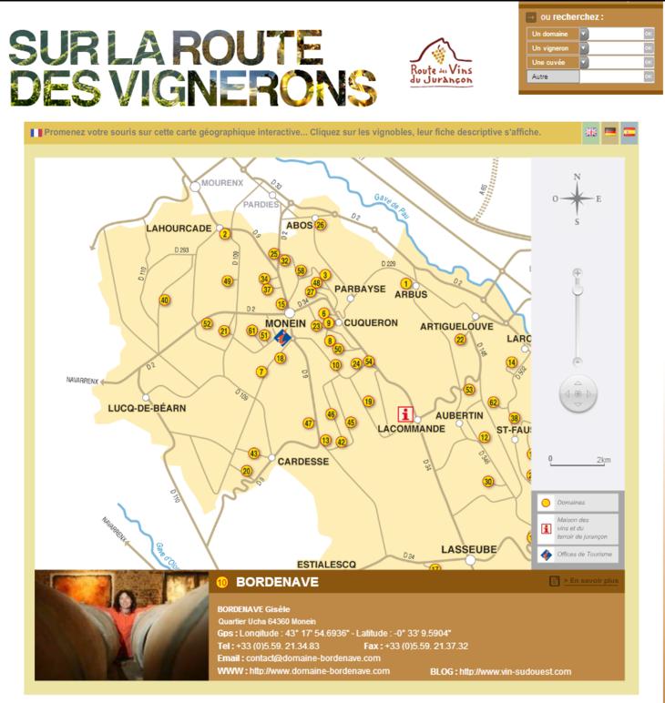 Carte de la Route des Vins du Jurançon.