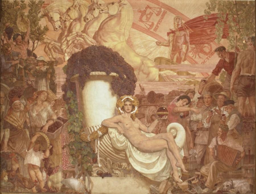 Le Vin, fresque murale par François Roganeau, foyer sud de la Bourse du Travail de Bordeaux (1938).