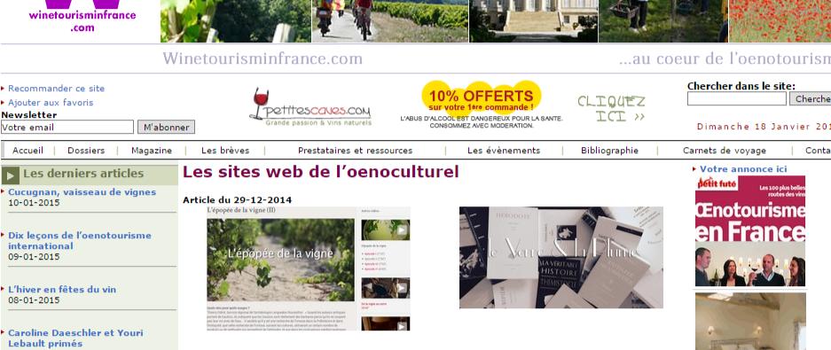 Winetourisminfrance Les sites web de l oenoculturel