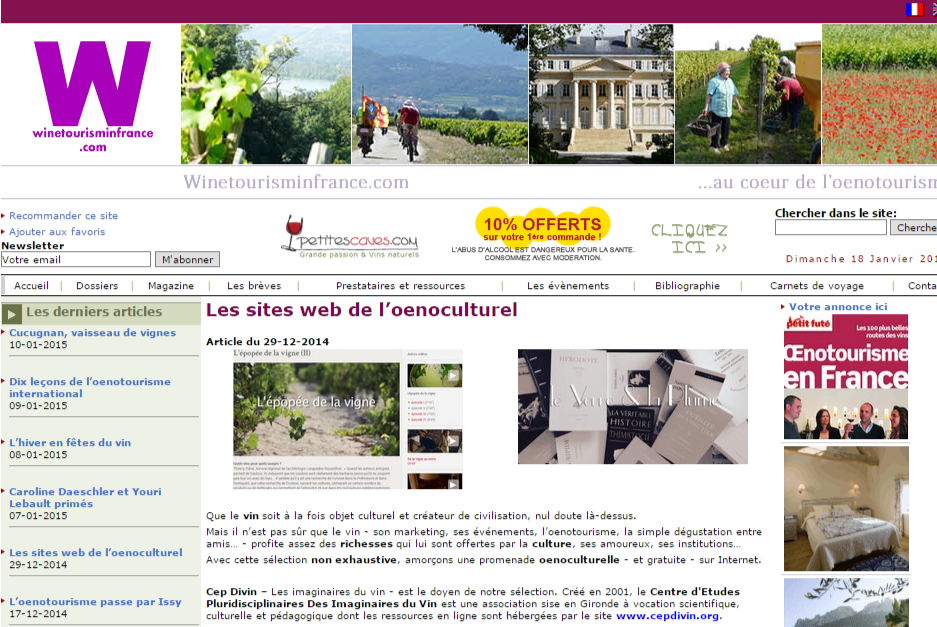 Winetourisminfrance Les sites web de l oenoculturel