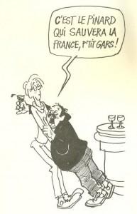 Dessin de Cabu dans Les mots du vin et de l'ivresse de Martine Chatelain-Courtois.