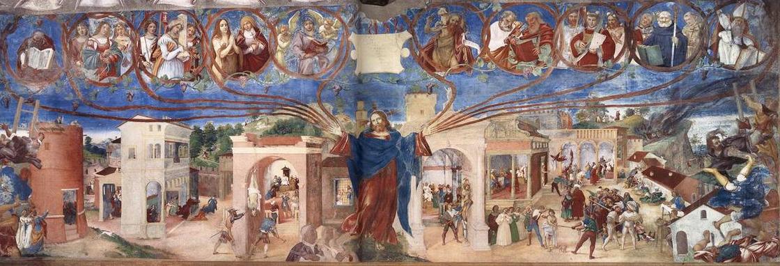 Le Christ-Vigne de Lorenzo Lotto, Histoire de Santa Barbara, fresque de l'église de Trescore, Bergame, 1524.