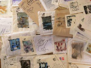 Jean-Claude Pirotte, Enveloppes avec aquarelles. Collection privée.